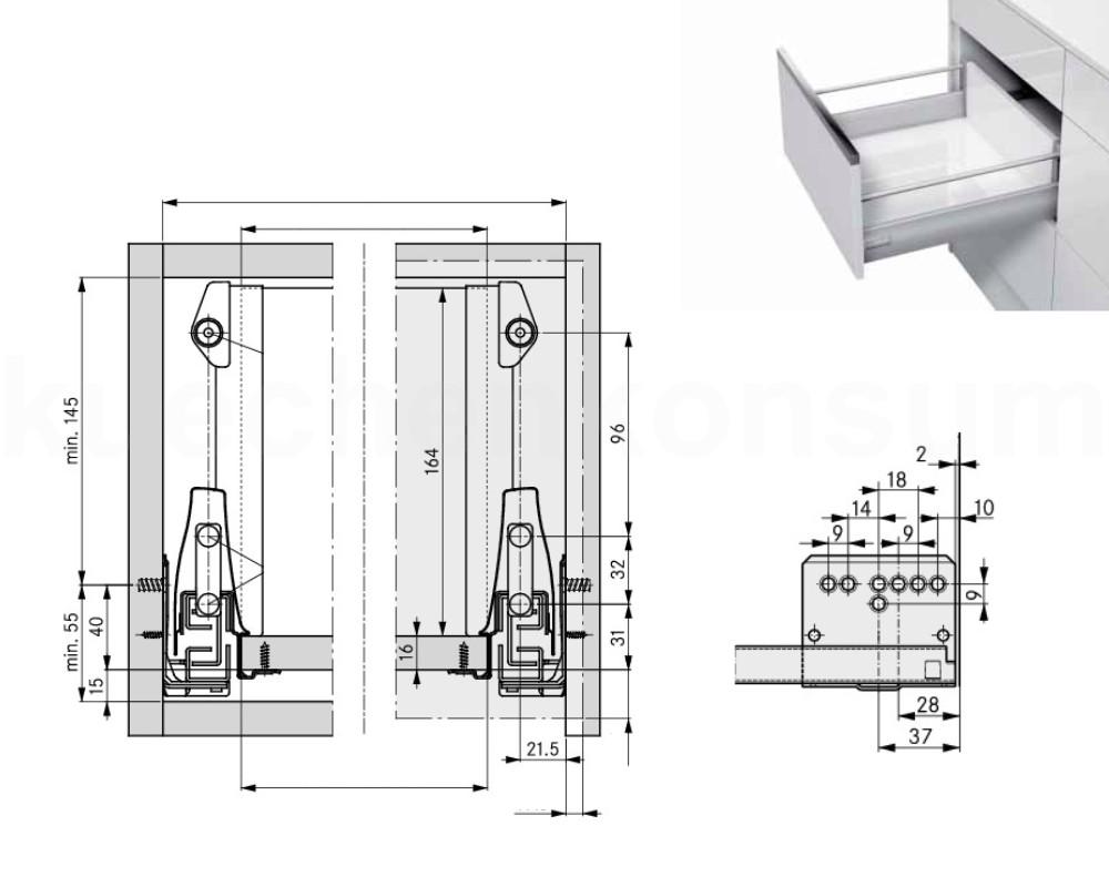 unterschrank schubkasten auszug mit reling schrankauszug. Black Bedroom Furniture Sets. Home Design Ideas