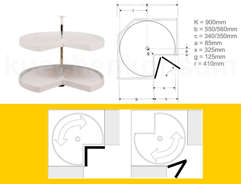 Details zu Eckschrank 90 Tablarboden 3/4 Drehboden Karussellboden  Topfkarussell Weiß Kunsts