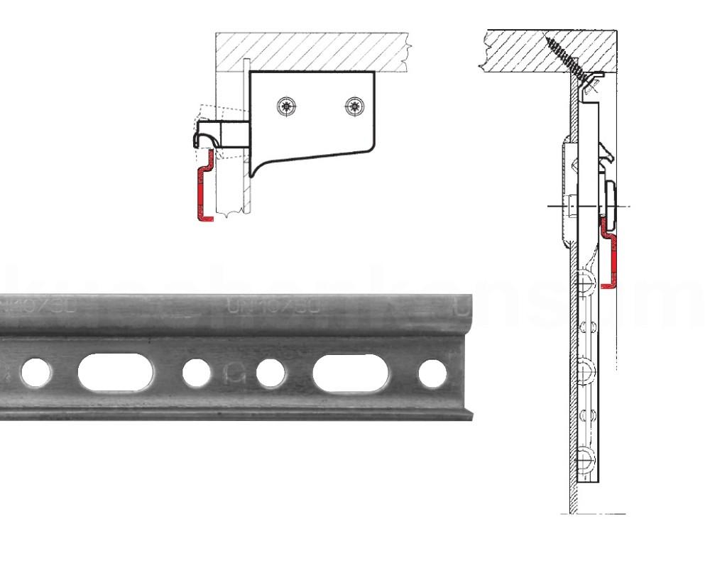 Aufhängeschiene 2er Küchen Hängeschränke 118 cm Montageschiene ...