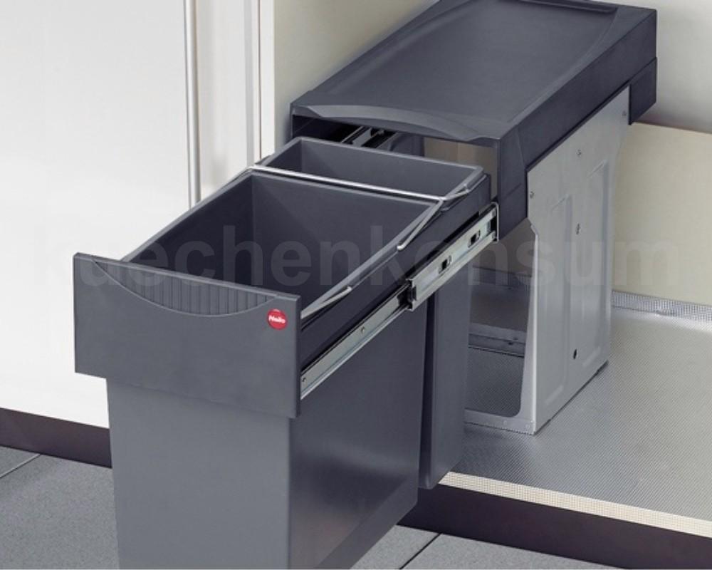 Schwarz One Size Plastik Hailo Raumspar Tandem Küchen-Abfalleimer