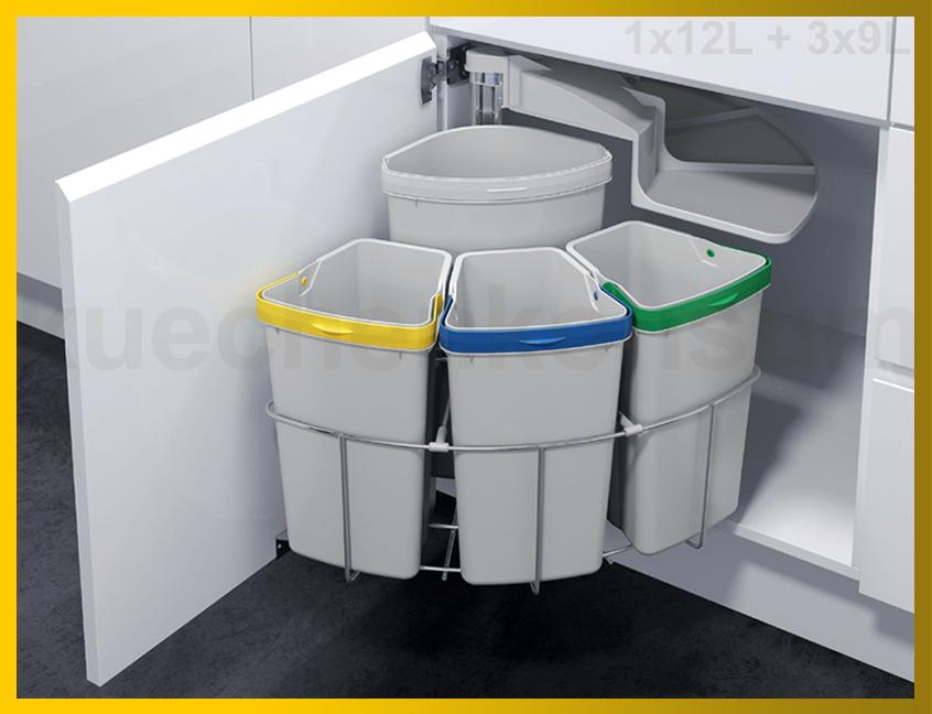 Details zu Abfallcenter 4 Schwenkeimer 3x 9, 12L Mülleimer Abfalleimer  Abfallsammler Einbau