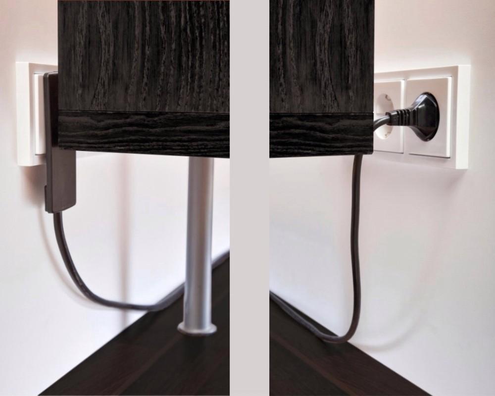 evoline plug flachstecker mit 3er steckdosenverteiler raumsparstecker schwarz ebay. Black Bedroom Furniture Sets. Home Design Ideas