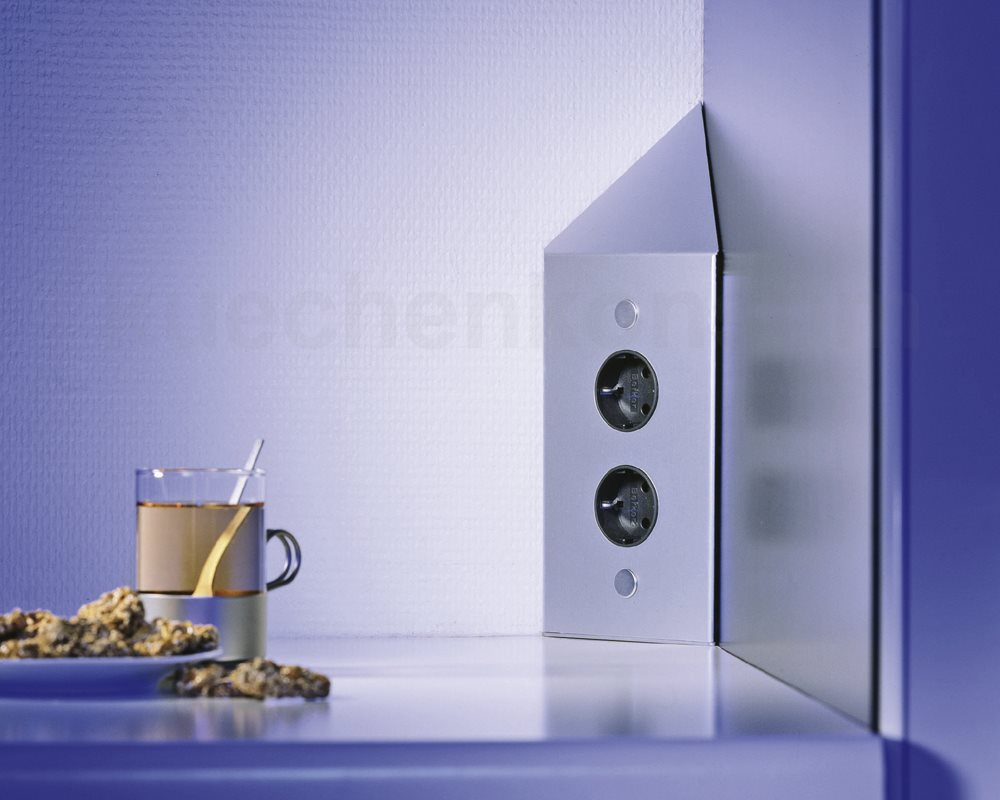 ecksteckdosenleiste 2 fach steckdosenelement edelstahl powerport k chensteckdose. Black Bedroom Furniture Sets. Home Design Ideas
