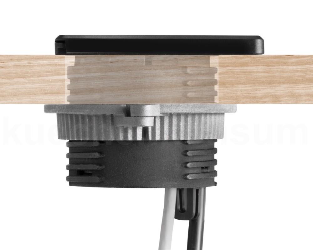 evoline steckdose square 80 patchkabel 3m charger einbau steckdosenelement lade. Black Bedroom Furniture Sets. Home Design Ideas