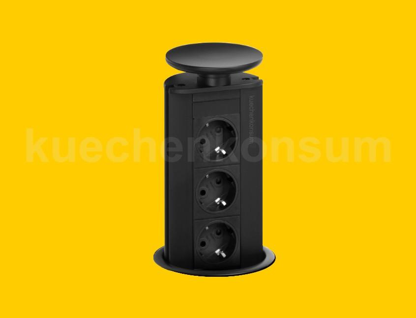 evoline port schwarz versenkbare steckdose powerport tischsteckdose energietower ebay. Black Bedroom Furniture Sets. Home Design Ideas