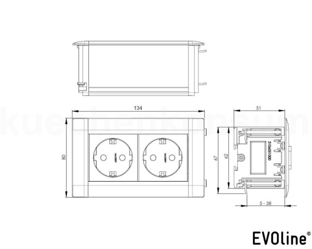 evoline u dock einbau steckdose 2 fach klappdeckelinselsteckdose tischsteckdose ebay. Black Bedroom Furniture Sets. Home Design Ideas