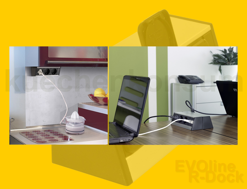 steckdosenleiste evoline r dock 2 er power port unterbausteckdose energiebox alu ebay. Black Bedroom Furniture Sets. Home Design Ideas