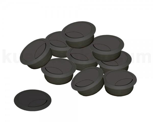 Kabeldurchlass 60 mm für Arbeitsplatte Kunststoff schwarz 10 Stück