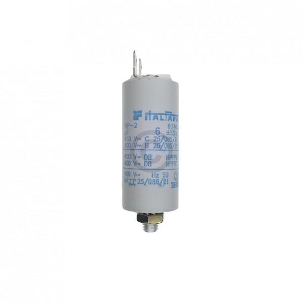 Europart Kondensator 6,00µF 450V Universal mit Steckfahnen und Befestigungsschraube