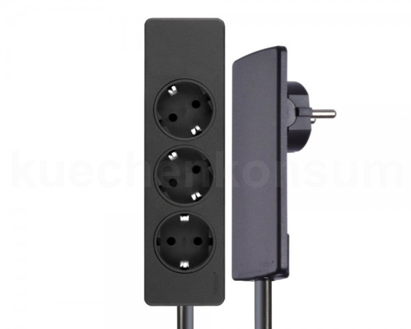 Schulte EVOline Plug 03.061 Flachstecker 3 m mit Steckdosenleiste 3-fach schwarz