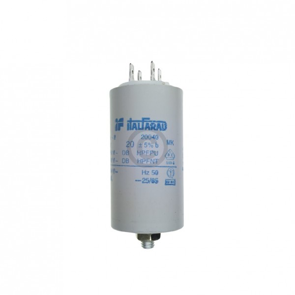 Europart Kondensator 20,00µF 450V Universal mit Steckfahnen und Befestigungsschraube