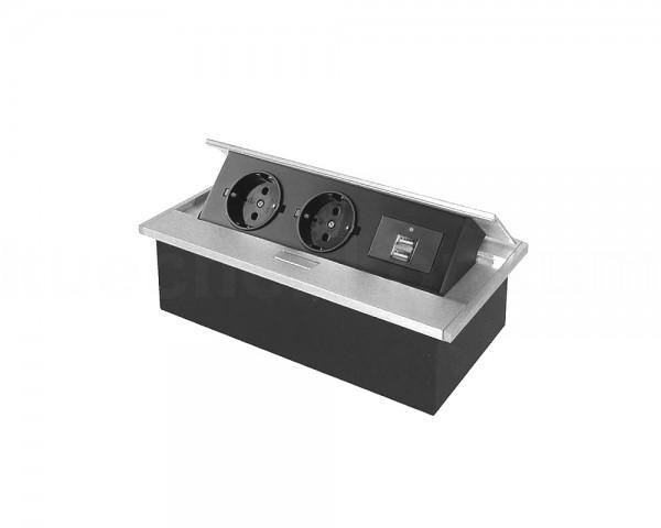 Thebo Tischsteckdose 17116 APS 11 mit USB 2fach und Klappdeckel ALU