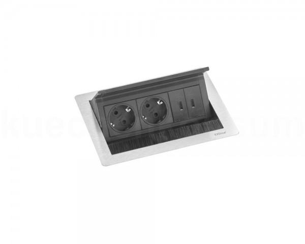 Schulte EVOline FlipTop Push S 00.786 Klappsteckdose 2fach VDE Edelstahl m USB