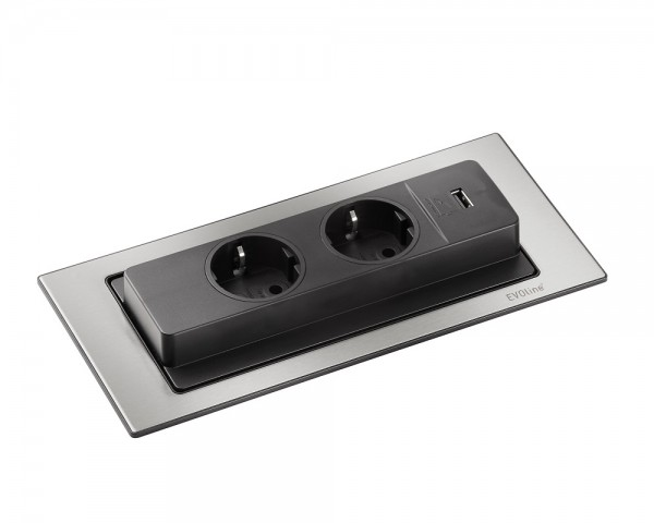 Schulte EVOline BackFlip 10.001 USB-A Charger + Einbausteckdose 2 fach Edelstahl gebürstet
