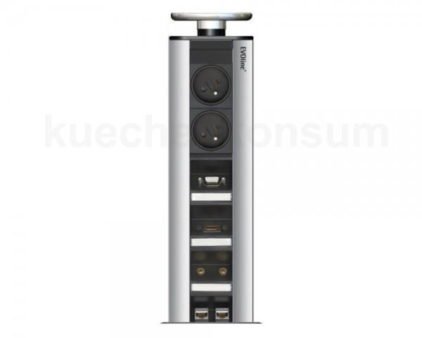 Schulte EVOline Port 66.005 6fach FR + VGA + HDMI + Klinken + RJ45 Silber