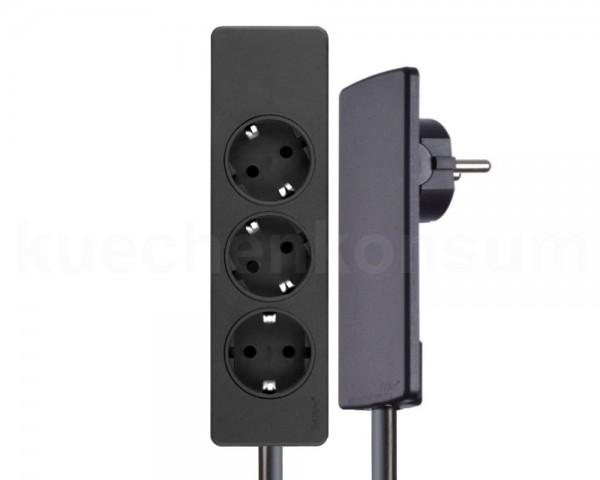Schulte EVOline Plug 01.561 Flachstecker 1.5 m Steckdose 3-fach schwarz