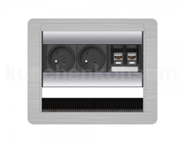 Schulte EVOline FlipTop 20.382 Klappsteckdose DATA SMALL Steckdosenleiste 2 FR+2fach waagerecht