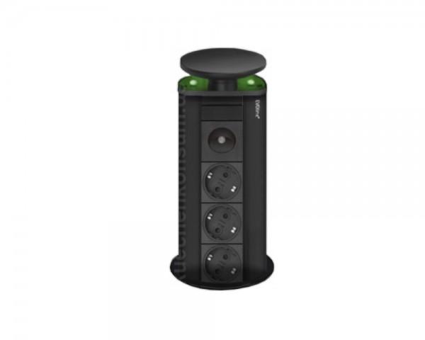 Schulte EVOline PowerPort 3fach LED grün Schwarz