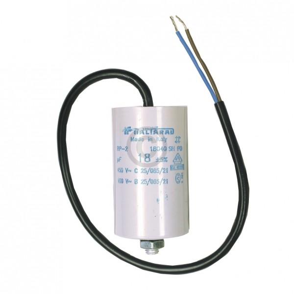 Europart Kondensator 18,00µF 450V Universal mit Anschlusskabel und Befestigungsschraube