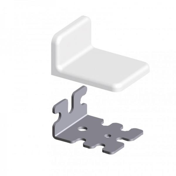 EURO-Winkel 32 verzinkt 50 x 25 mit Abdeckkappe weiß