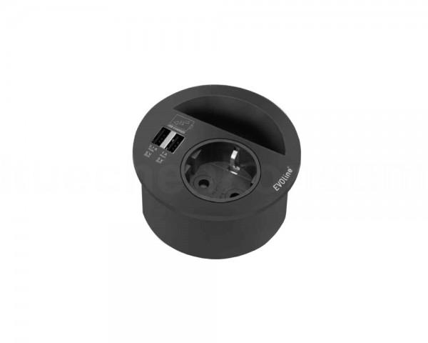 Schulte EVOline Circle80 00.415 Steckdose, USB, Kabeldurchlass schwarz
