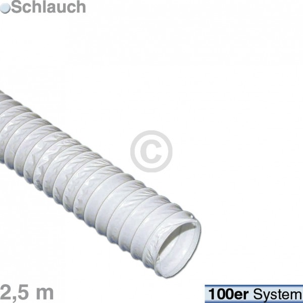 Europart Abluftschlauch 100er Rundsystem 2,5m PVC weiß für Ablufttrockner