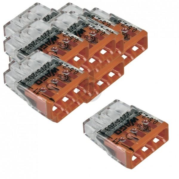 Wago Verbindungsdosenklemme WAGO 2273-203 Steckklemmen für 3 Kabel Kupferdrähte 0,5-2,5mm ² 100Stk