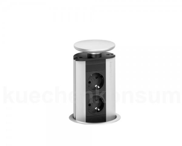 Schulte EVOline PowerPort 2fach Silber mit Dichtungsring