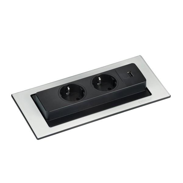 Schulte EVOline BackFlip 10.018 USB-A Charger + Einbausteckdose 2 fach Glas weiß glänzend