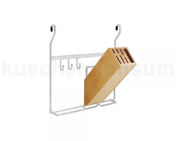 Linero Classic Messerblockhalter matt-verchromt mit Messerblock aus Massivholz