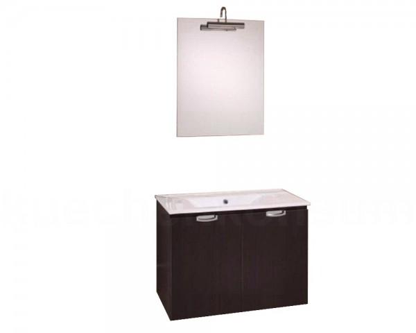 Badmöbel mit Waschbecken, Spiegel und Leuchte