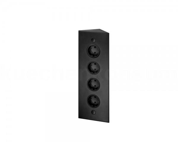 Thebo Ecksteckdose 17588/320 Schwarz 4fach ST 3007/320 320 mm