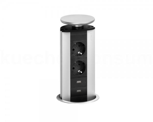 Schulte EVOline Port 03.010 versenkbare Steckdose 2 + 2 fach USB Charger unten