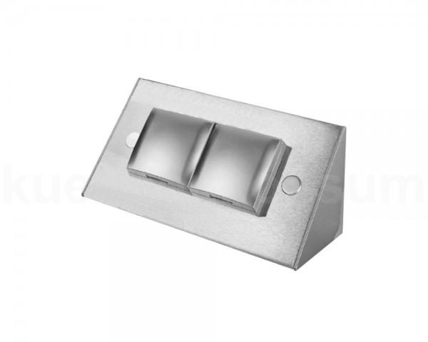Thebo Aufbausteckdose 17916 Edelstahl 2-fach ST 3900 ST/2 mit Deckel Silber