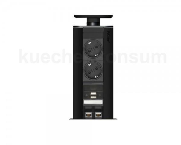 Schulte EVOline Port 66.001 versenkbare Steckdose 2 VDE + 2x USB 2.0 + 1x 2 RJ45 Schwarz