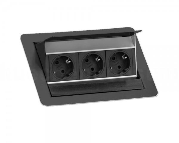 Schulte EVOline FlipTop S 20.671 Klappsteckdose 3fach VDE schwarz