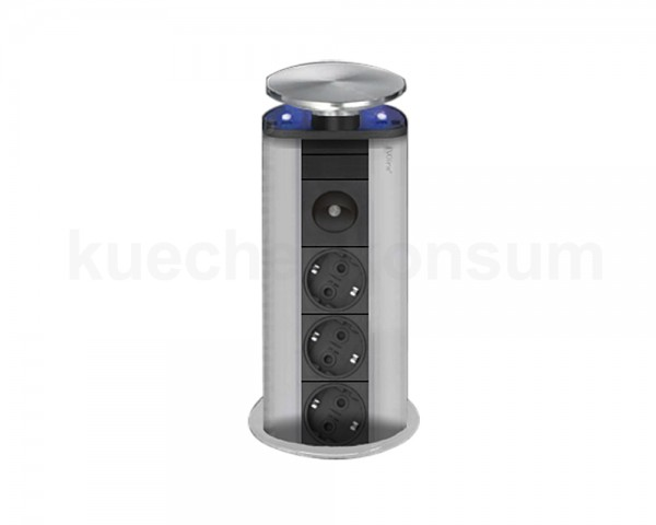Schulte EVOline PowerPort 3fach LED blau Edelstahl Nightlight mit Dichtung