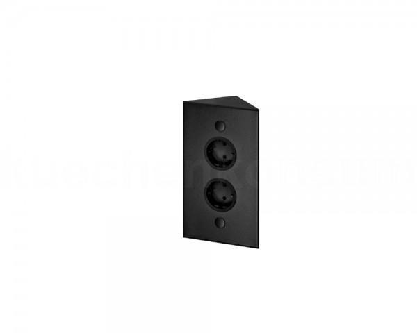 Thebo Ecksteckdose 17588/200/2 Schwarz 2fach ST 3007-2 200 mm