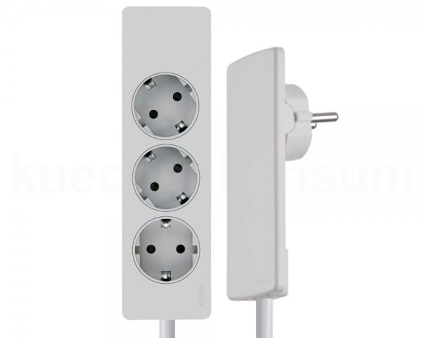 Schulte EVOline Plug 03.063 Flachstecker 3 m mit Steckdosenleiste 3-fach weiß