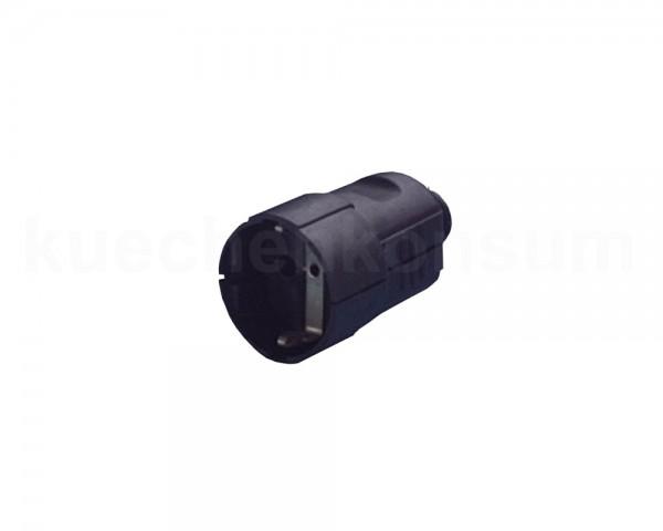 Schutzkontakt-Kupplung mit angeformter Tülle schwarz