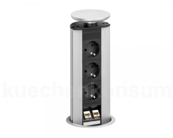 Schulte EVOline PowerPort 3 VDE + Data 2fach mit Dichtungsgummi