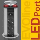 Schulte EVOline Port 03.947 versenkbare Steckdose 3fach LED rot Edelstahl