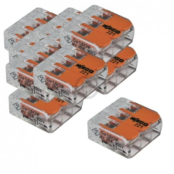 Wago Verbindungsklemme 3-Leiter Wago 221-413 für Kupferdrähte bis 4mm ² zur Elektroinstallation 50S