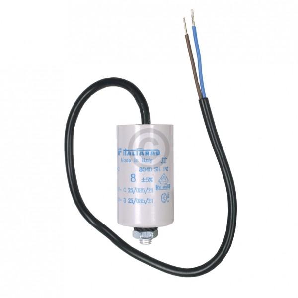 Europart Kondensator 8,00µF 450V Universal mit Anschlusskabel und Befestigungsschraube