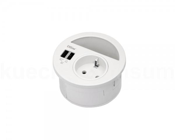 Schulte EVOline Circle80 30.010 Steckdose USB Kabeldurchlass weiß