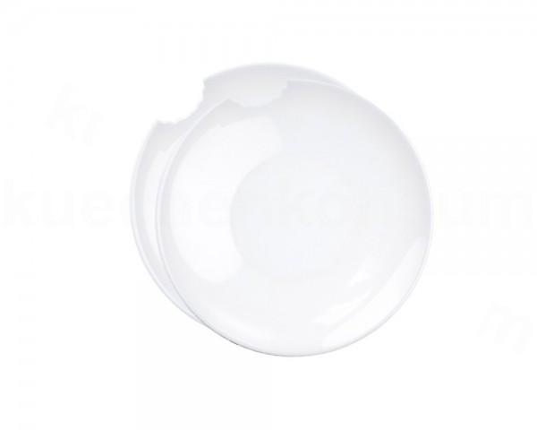 TV Tasse Suppenteller 76 kleiner Teller mit Biss rund 2er Set 18 cm weiß