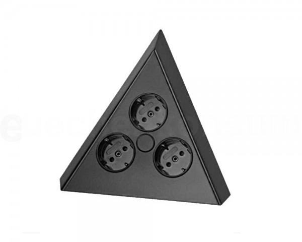 Thebo Ecksteckdose 17588/C Schwarz 3-fach ST 3007-C 200 x 150 x 140 mm