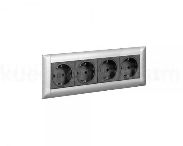 Schulte EVOline Frame Dock 00.021 Einbau Steckdose 4fach silber