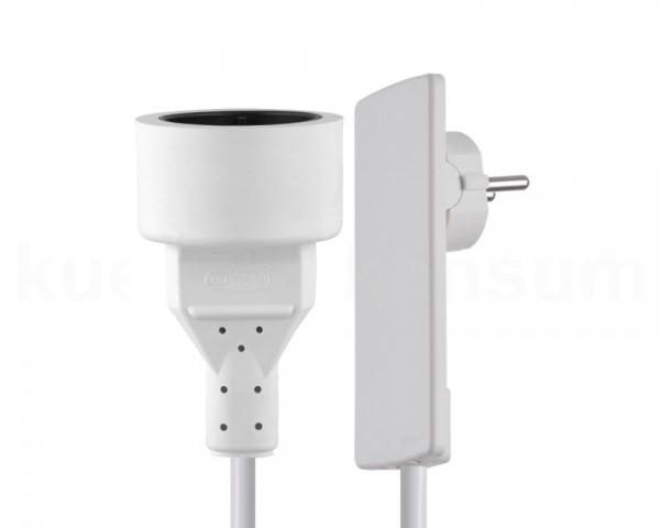 Schulte EVOline Plug 01.553 Flachstecker 1.5 m mit Kupplungsdose weiß