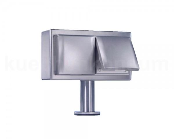 Thebo Inselsteckdose 17006KLD Edelstahl 2fach KI-ST/2 KLD mit Deckel Silber